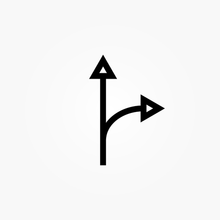 Two Arrows Splitting From One Illustration