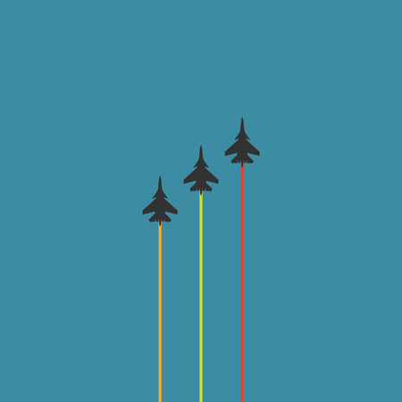 Three ultra fast planes with colored smoke. vector