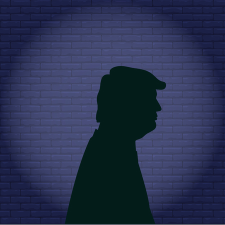 Man in the hood concept danger silhouette front side icon black color Illustration