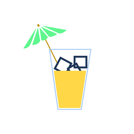 Glass cold drink alcohol & straw banner. Summer Bright soda cocktail & umbrella. Glass lemonade fruit juice umbrella summer banner. Cold iced tea Bar with glass cocktail fizzy water drink straw banner