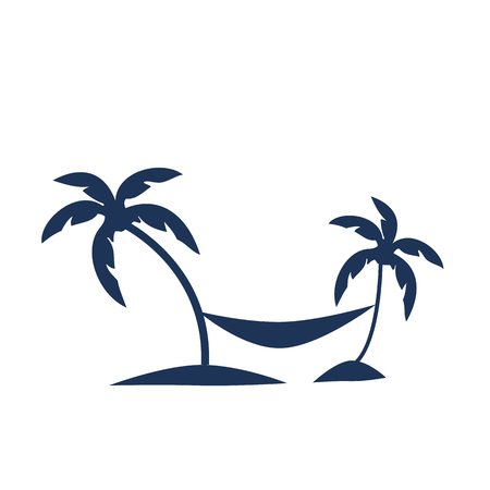Vector icon illustration showing a man relaxing on a hammock between two palm trees Illustration