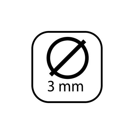 Symbol für die Leitung des Kreisdurchmessers. Lineares Zeichen für mobiles Konzept und Webdesign.