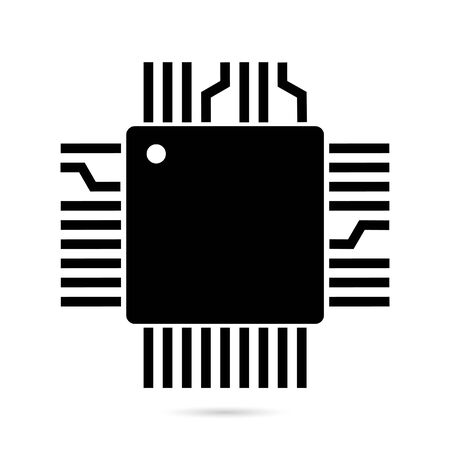 Black Processor icon isolated on white background. CPU, central processing unit, microchip, microcircuit, computer processor, chip. Vector Illustration Çizim