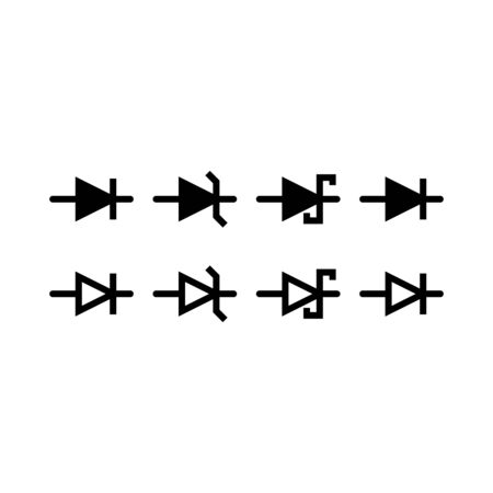 Set of electronic symbol line icon design. Electronic sign vector. Such as lamp, battery, diode, resistor, fuse and others. Black outline design. Vetores