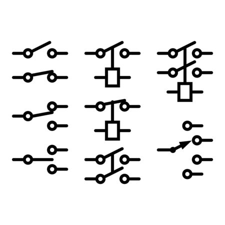 Electromechanical Relay Symbols on white background.