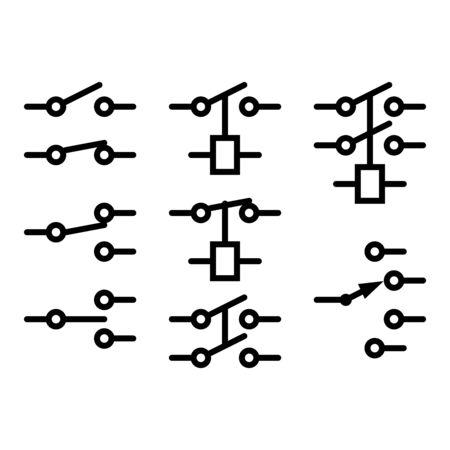 Elektromechanische Relaissymbole auf weißem Hintergrund.