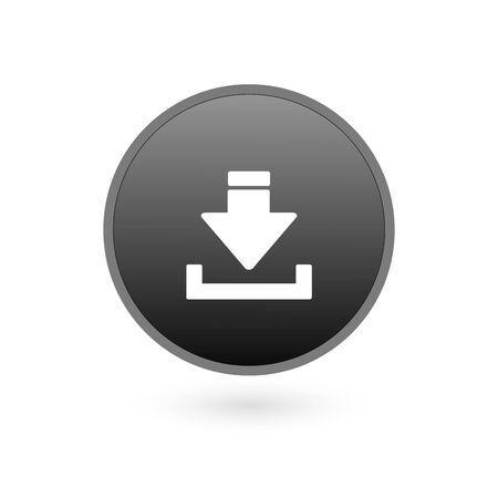 Download Icon on Square Black Internet Button Original Illustration Ilustrace