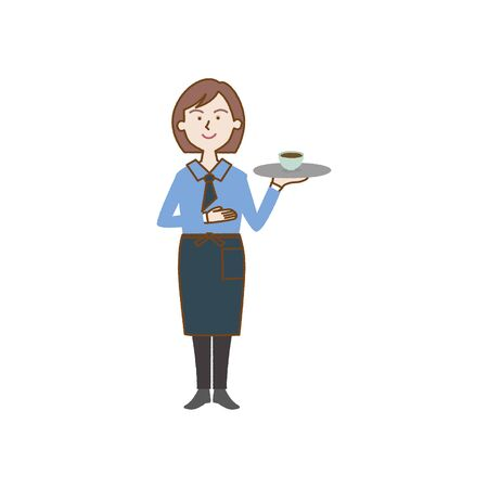 Girl with a tray in an apron