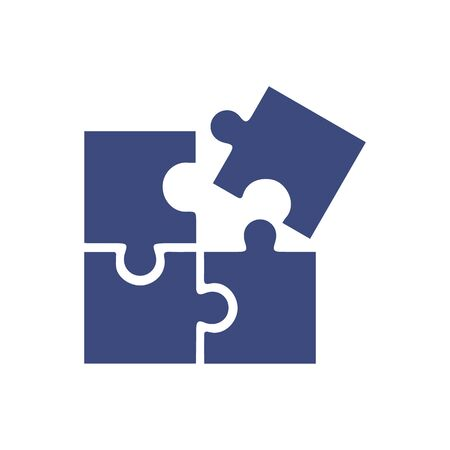 Puzzle compatible icon in flat style. Jigsaw agreement illustration on white isolated background. Cooperation solution business concept.