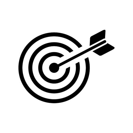icon flat target with dart in black, isolated, shaded Imagens