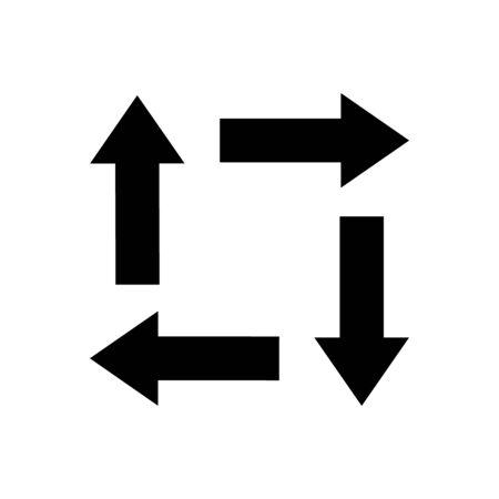 Conjunto de iconos de flechas planas negras gruesas gordas cortas en negrita