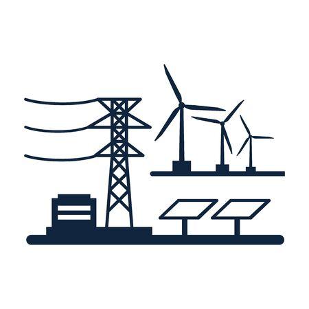 Ecology power concept. New energy type. Alternative energy. Alternative wind energy station. New eco energy vector illustration. Ecology concept.Global wind day 15 jun. Alternative energy type.