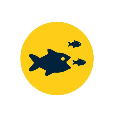 Business concept in teamwork or unity, representing with small fish gathering together that can fight and chasing big fish.