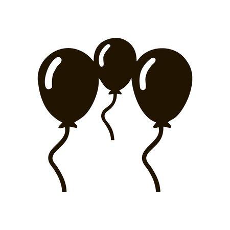 Vector flat isolate three balloons flat icon. Çizim