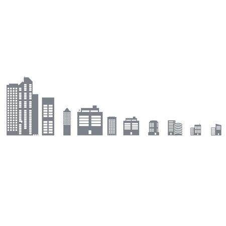 Buildings vector web sticker icons set on white background Ilustração