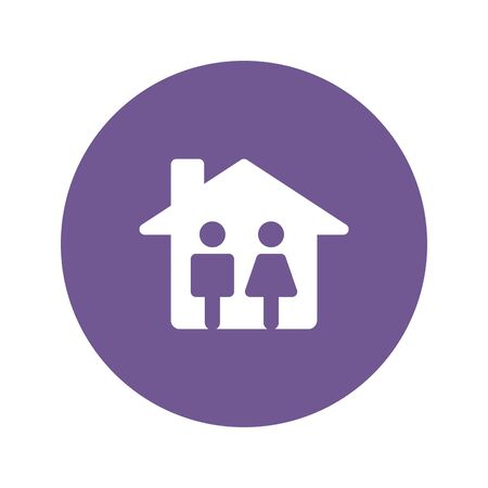 Silhouette family icon and house. Conceptual vector illustration Ilustração