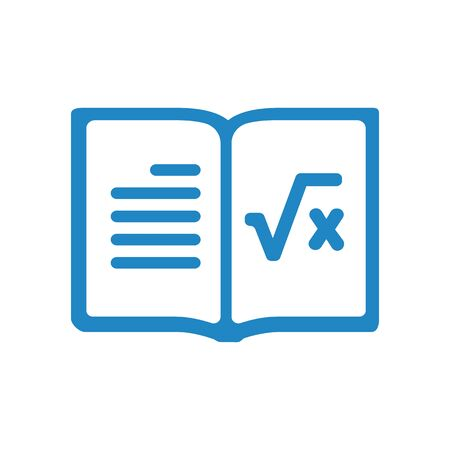 Vector opened realistic elementary school math copybook with margins, lying diagonal. Isometric blank lined open notebook or copy-book with staples mockup or template