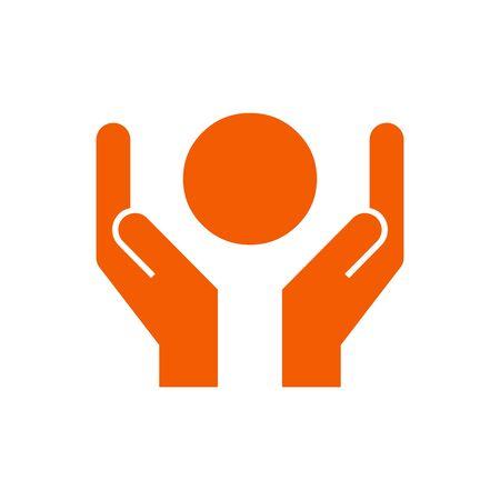 orange ball in hands, save the planet, ecology, climate vector icon Illusztráció