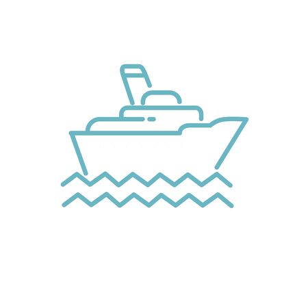 Ship on the sea vector. Ship and wave logo. Sea boat.