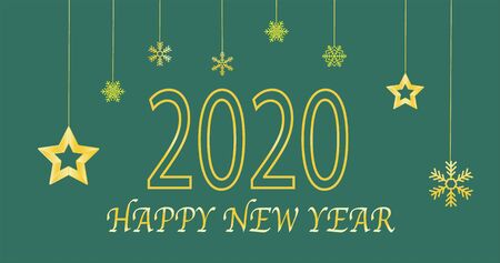 Happy New Year 2020 logo text design. Concept design. Vector modern illustration of gold text. Illustration