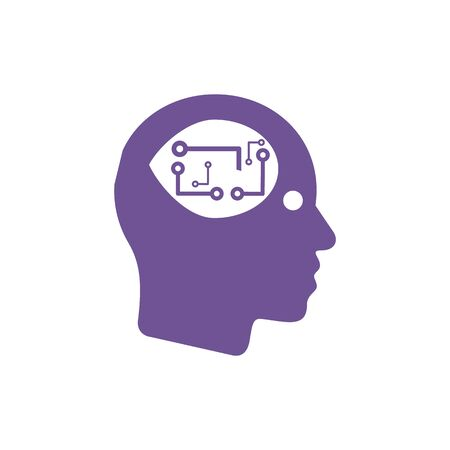 Circuit board human head eps 10, vector illustration