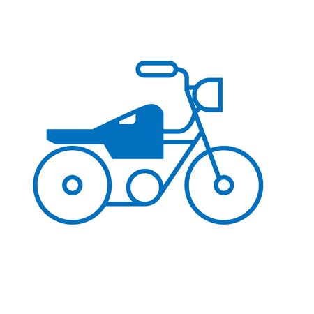 bike graphic silhouette isolated logotype on white. Vector illustration in flat design of fast transportation sign with two wheels, one helm, front light for traveling or just driving