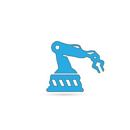 Robotic hand manipulator black silhouette symbol icon. Robot limb logo.