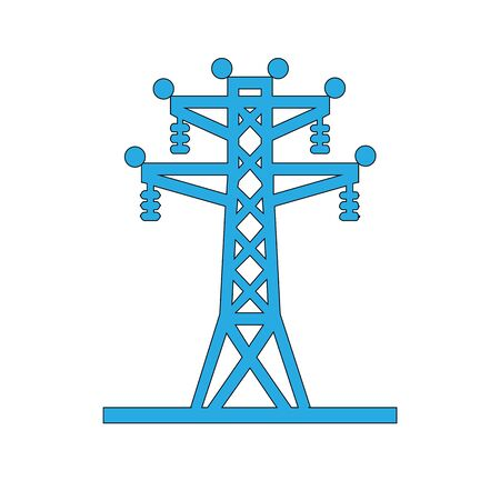 Black Electric tower used to support an overhead power line icon isolated on white background. High voltage power pole line. Vector Illustration Illustration