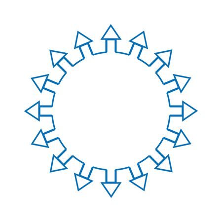 Eight Arrows Around a Circle Pointing Outwards From a Dot