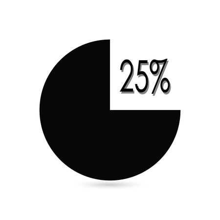 Infographics 25 75 percent pie diagram. Isolated business illustration. Circle chart vector.