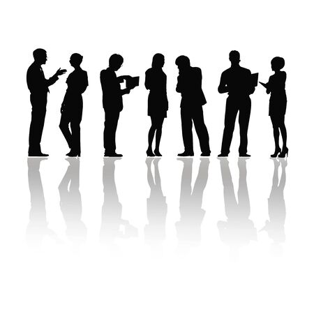 People silhouettes group women and men on white background