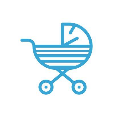 Blue baby pram icon. Vector flat illustration