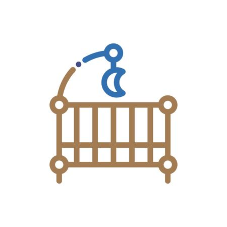 Baby cot icon , Vector flat long shadow design. Illustration