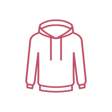 Fashion technical sketch for men hoodie. Mockup template hoody. Front and back view. Technical drawing kids clothes. Sportswear, casual urban style. Isolated object of stylish wear Illustration