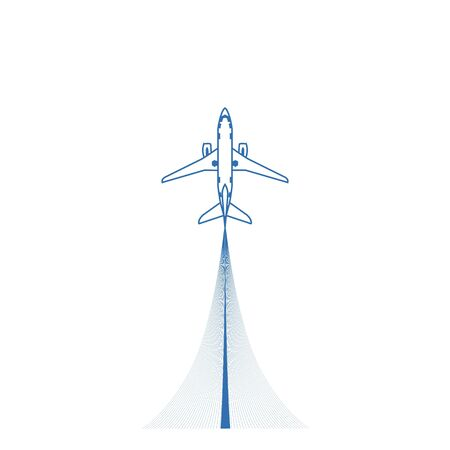 Airplane top view icon. Aircraft, passenger plane with four jet engines. Vector Illustration Illustration