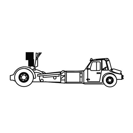 Repair and maintenance of aircraft. Tractor towing airplane. Vector illustration. Illustration