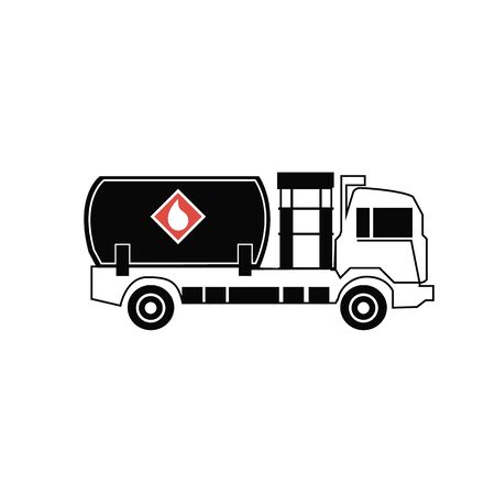 Black Tanker truck icon isolated on white background. Petroleum tanker, petrol truck, cistern, oil trailer. Set icons colorful square buttons. Vector Illustration Illustration