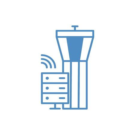 Airport. Control tower and terminal building on white background Illustration