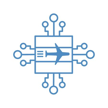 Illustration of an isolated CPU chip icon with a plane