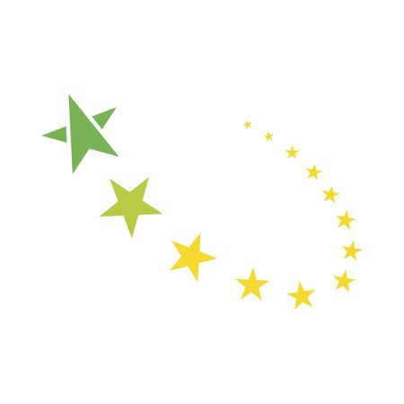 Yellow stars flying one after another on a white background