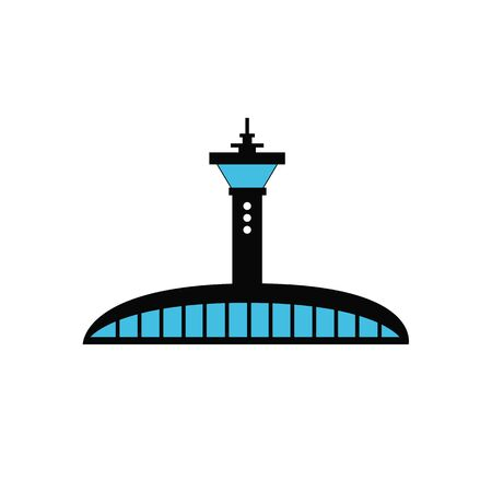 flight control tower on white background, flat and shadow theme Illustration