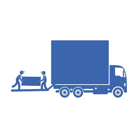 Truck delivery furniture, transportation concept, workers loading Illustration