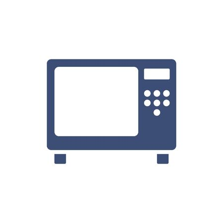 Microwave oven sign icon. Kitchen electric stove symbol. Circle flat button with shadow. Modern UI website navigation. Vector Illustration