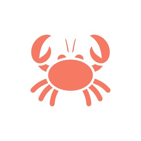 orange crab with claws on a white background