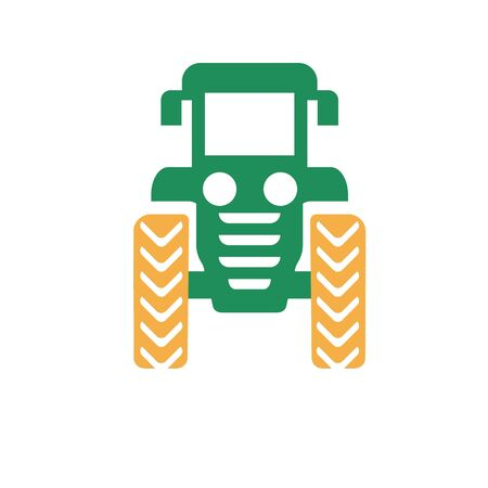 A bearded farmer in a tractor. Cartoon tractor model. The cultivation of the landscape Illustration