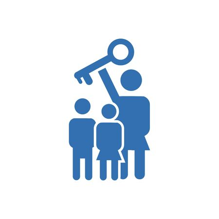 family holds a key on a white background