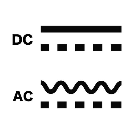 Direct and Alternating Current DC and AC Symbol Sign, Vector Illustration, Isolate On White Background.