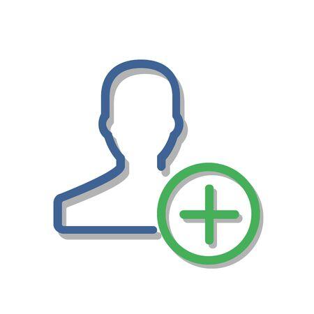 Umriss Symbol für neues Benutzerkonto hinzufügen isoliert auf grauem Hintergrund. Fügen Sie dem Liniensymbol für Kontakte einen neuen Freund für Website-Design, mobile Anwendung, Benutzeroberfläche hinzu. Bearbeitbarer Strich. Vektorabbildung, EPS10.