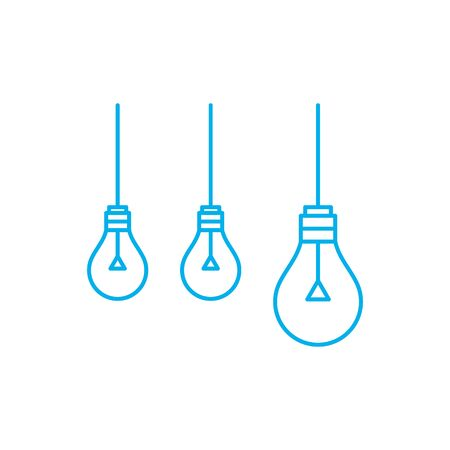 Three blue ceiling lamps vector illustration on white background