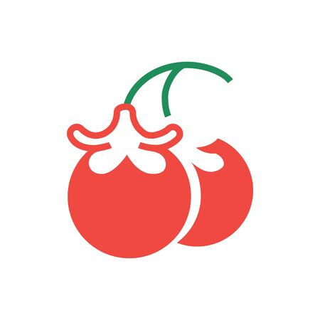 Delicious ripe tomatoes in engraving style on white background